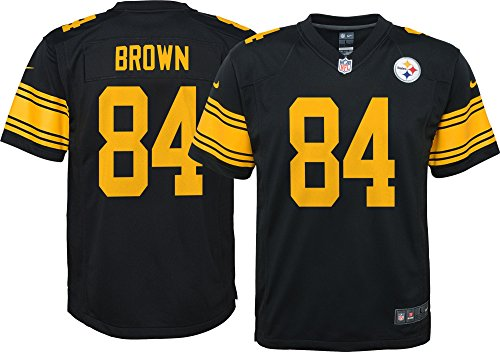 Steelers Antonio Brown Pittsburgh Color Rush Youth Game Jersey Black by Nike (Youth X-Large)