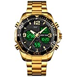 VIGOROSO Mens Multi Times Military Gold Watch for Men Chronograph Green Digital Analog Backlight Stainless Steel Sports Wrist Watch for Boys/Teens/Gents Waterproof (Gold)