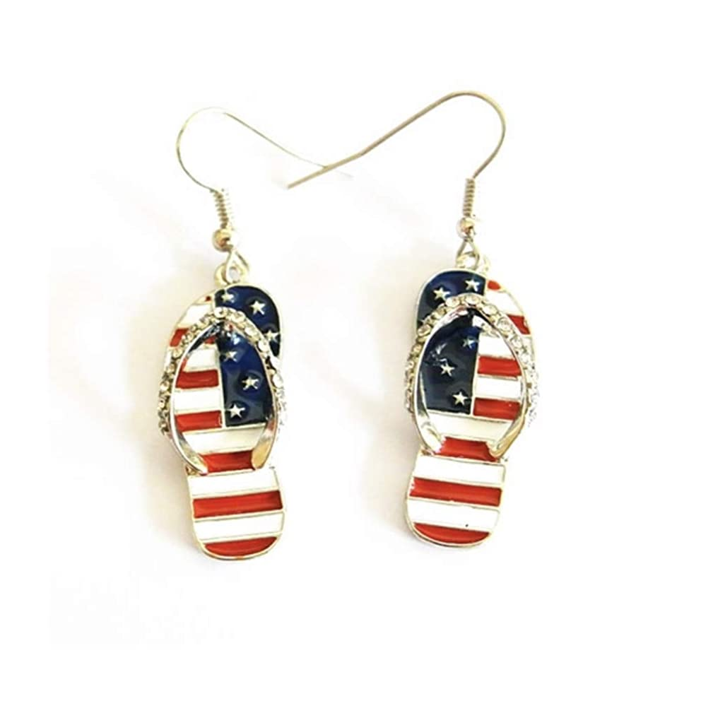 CheeseandU 1Pair American Flag Earring, Cute Fashion Sandal Shape USA Flag Earring Oil Drop USA Flip Flop Earring Independenca Day Patriotic Jewelry Great for 4th of July Gift
