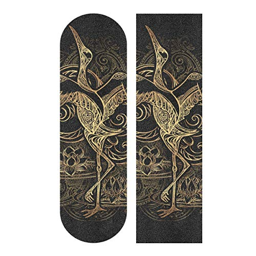 MNSRUU Crane Tattoo mit Lotus auf Hintergrund Mandala Skateboard Griptape Blatt Scooter Deck Sandpapier 22,9 x 83,8 cm