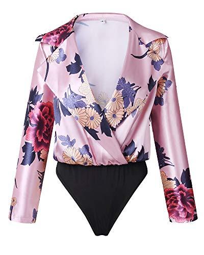 Body Camisa Floral Imprimiendo Bajo Pecho con Estampado De Mujer Tuxedo Blusa Manga Larga Pink S