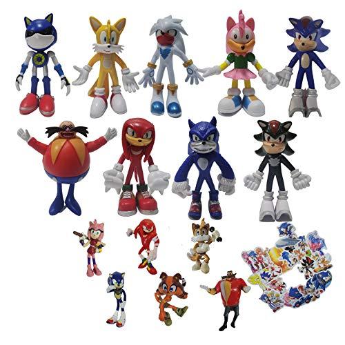 Set de figuras de Sonic Super Sonic Hedgehog Supersonic Mouse Mano Oficina Aberdeen Decoración Modelo Juguete Juego Periférico Regalo de Navidad