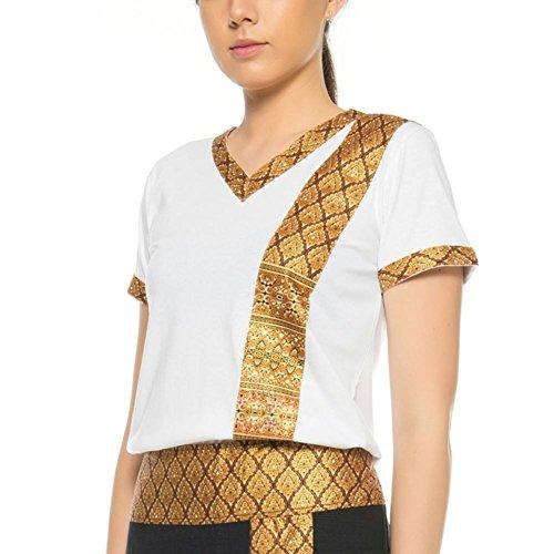 MyThaiMassage Thai-Massage T-Shirt mit traditionellen Thai-Muster Größe: S - Farbe: Weiß
