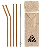Minimo Reusable Stainless Steel Metal Straws (Copper Colour) - Pack of 4 (Straight & Bent) with Brush and Jute Pouch Cutlery