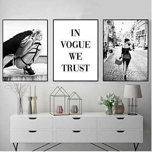 Zwarte Witte Engel Wing Foto Scandinavische Mode Poster Noordse Mascara Vogue Print Muur Kunst Canvas Schilderij Woonkamer Decor 50x70cmx3 frameless