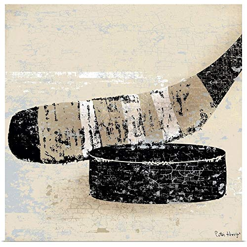 GREATBIGCANVAS Vintage Hockey Stick and Puck Fine Art Poster Print, Hockey Home Decor Artwork, 20'x20'