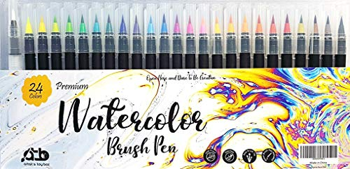 24 Watercolor Brush Pens + 1 Water Brush Pen for Blending – Real Nylon Water-Based Brush Tip Markers Use for Painting Drawing All Artists and Beginners