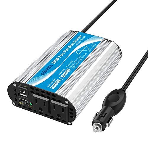 GIANDEL 300Watt Pure Sine Wave Car Power Inverter 12V DC to 120V AC 4.8A Dual USB AC outlets Tablets Laptops Smartphones