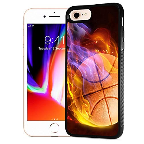 NiceTEK HOT12094 Flame Basketball 12094 Schutzhülle für iPhone 6, iPhone 6S, strapazierfähig, weiche Rückseite, weiche Rückseite, Schutzhülle