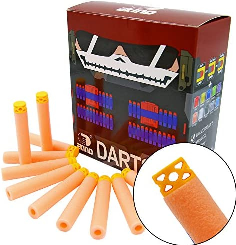 EKIND 100 Pcs 7.2cm TPR Waffles Soft Head Glow in The Dark Foam Darts Compatible for Nerf AccuStrike Elite Series Blasters Toy Gun (White)