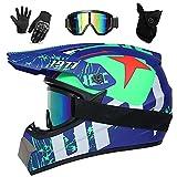 UIGJIOG Casco Motocross Infantil,Tema de Diseño de UFO Azul Cascos Moto Integrales with Gafas Guantes Máscara a Prueba de Viento,Casco Descenso Sí La Mejor Opción para Regalar,A