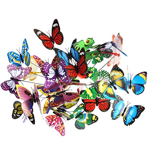 YICOTA 30 pcs Colorful Garden Butterflies Dragonflies Garden Decorations Stick Butterflies for Flower Pots Garden Yard Decoration