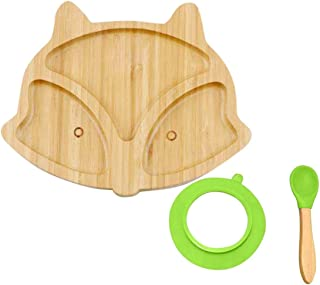Diagtree Baby Toddler Dinner Plates - Portable Non Slip Toddler Suction Plate, Stay Put Feeding Plate, Natural Bamboo Todd...