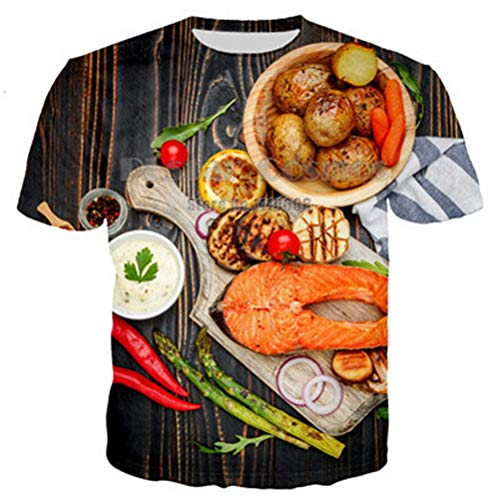 Estate Moda Donna/Uomo 3D T Shirt Manica Corta Spoof Fun Life Food Hamburger Pizza Funny Mens Tees Top 7XL 20 n Size 7XL