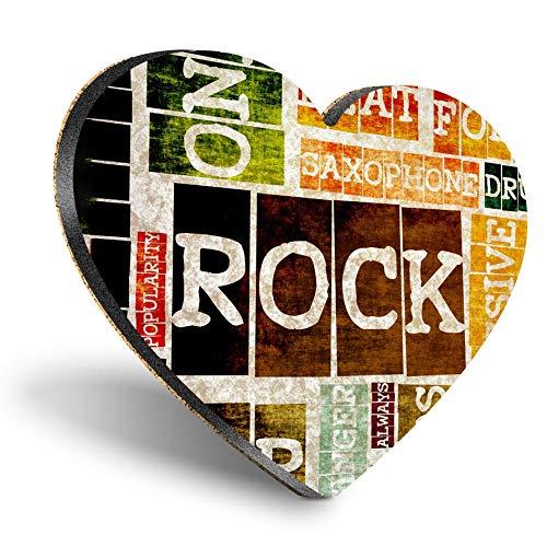 Posavasos con forma de corazón de MDF, banda de música retro de rock and roll, posavasos de calidad brillante, protección de mesa para cualquier tipo de mesa #8201