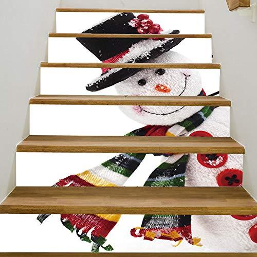 Persönlichkeit Kreative Weihnachten Schneemann Treppenaufkleber 2020 Weihnachten Neue Dekorative Wandaufkleber 100 * 18 Cm * 6 Stücke