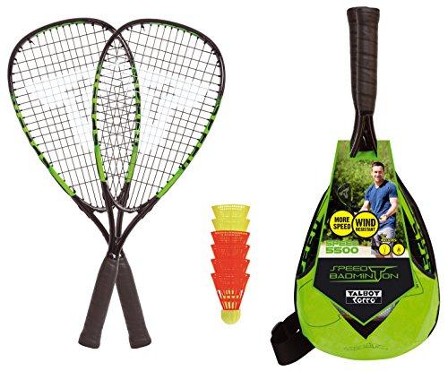 Talbot-Torro Speed-Badminton Set Speed 5500, 2 handliche Alu-Rackets 56,5cm, 6 windstabile Bälle, im trendigen Rucksack, limegrün-schwarz, 490115