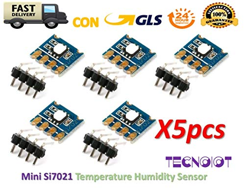 TECNOIOT 5pcs SMD Mini Si7021 Temperature Humidity Sensor Module I2C Occur Automatically