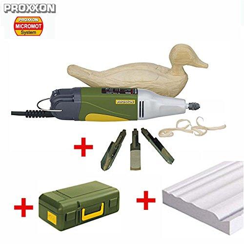 PROXXON Schnitzmaschine / Motorschnitzgerät MSG – inklusive 3 japanische Messereinsätze, Multiform-Abziehstein für messerscharfe Schneiden und Koffer