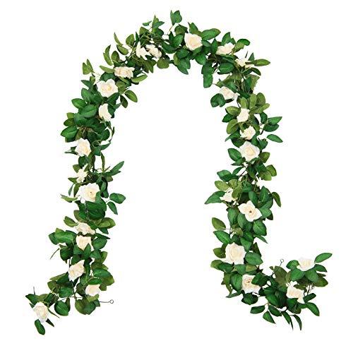 U'Artlines Juego de 4 Guirnaldas de Rosas Artificiales para Colgar Flores de Boda para el Hotel,Fiesta en Casa,Jardín,Manualidades,Fondos de Arte Decoración(250 cm,Rosado)