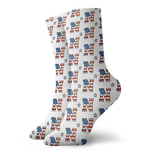 Wilson-Martin Us Flag N Star Usna Socks Casual Socks Sports Socks Fun Work Socks for Men/Women 11.8Inch