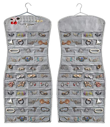 JSXD Hanging Jewelry Organizer,Dress-Like Double Side 84 Clear Pockets and 6 Hook Loops Storage for Holding Jewelries (Grey)