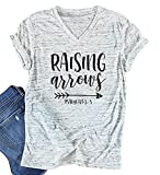 Raising Arrows Arrow Graphic T Shirt Casual Short Sleeve Top Tee (Large, White)