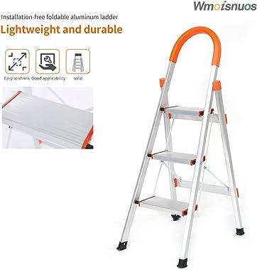 3 Step Ladder Household Folding Aluminum Ladder 330lb Kitchen Step Stool Ladder Home Lightweight Ladder Compact Ladder Telesc