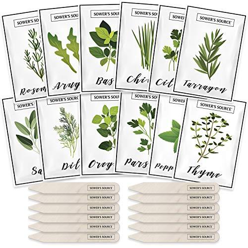 Herb Seeds for Planting – 12 Non-GMO Herb Garden Seeds for Planting Herbs: Basil Seeds, Dill, Chives, Oregano, Sage, Peppermint, Cilantro, Thyme, Rosemary, Tarragon, Parsley, Arugula