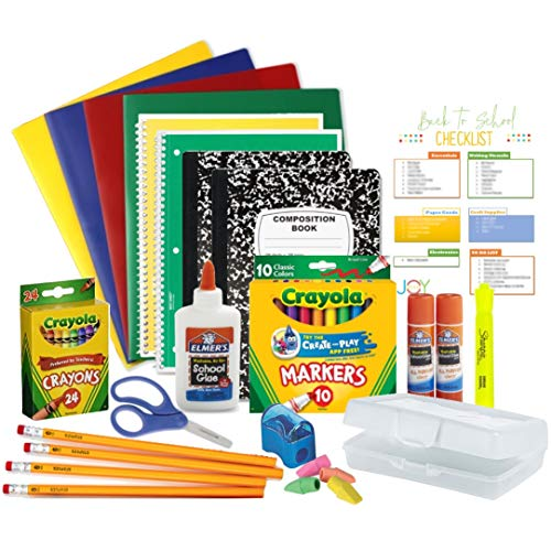 Elementary Back to School Essentials Supplies Bundle Grades Kindergarten - 5th and An EXCLUSIVE GiftsOfJoy Back to School Checklist