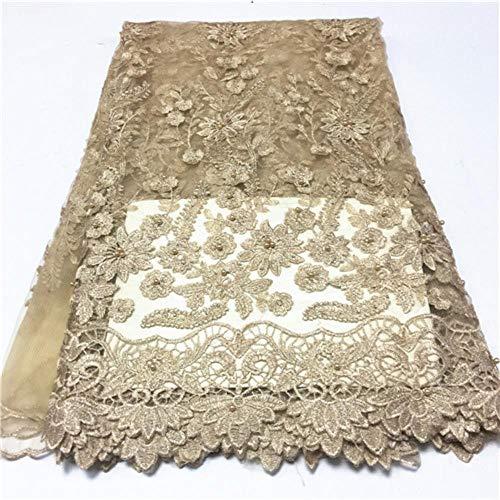 PENVEAT Afrikanische Spitze-Gewebe für Brautkleid Französisch Nigerian Spitze Fabrics günstigen Preis Tüllspitze Stoff mit Perlen 5yards, PL1200504F101