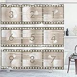 N\A Zahlen Duschvorhang, Vektor-Stil Illustration von Countdown-Zahlen auf einem Filmstreifen Muster Druck, Stoff Stoff Badezimmer Dekor Set mit Haken, Umber Taupe