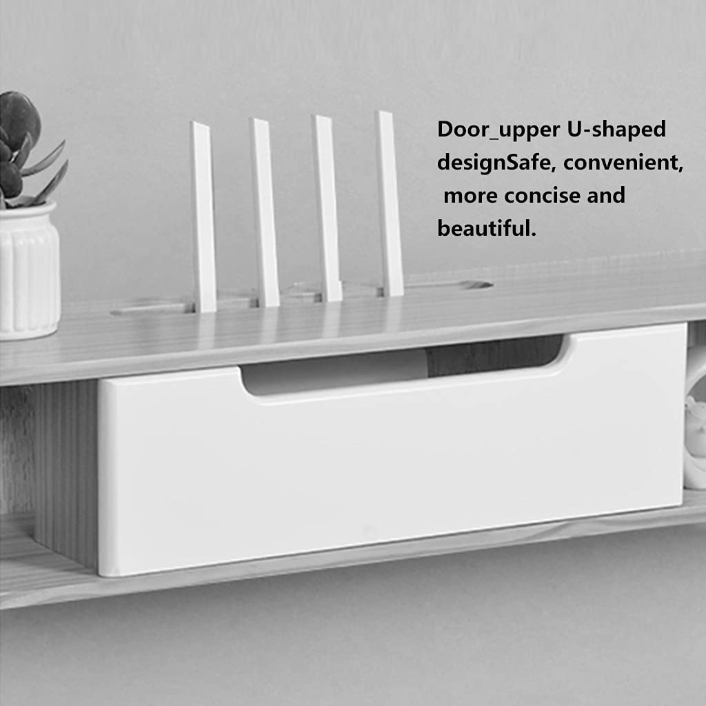 WiFi Router Storage Box Wall-Mounted Wall Socket Blocking Box Light cat TV Cabinet Solid Wood Set-top Box Rack Device
