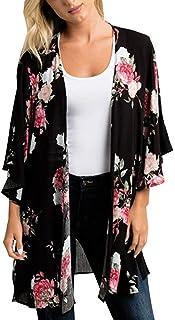 Women's Floral Kimono Cardigan Summer Loose Shawl Chiffon Beach Blouse Cover up