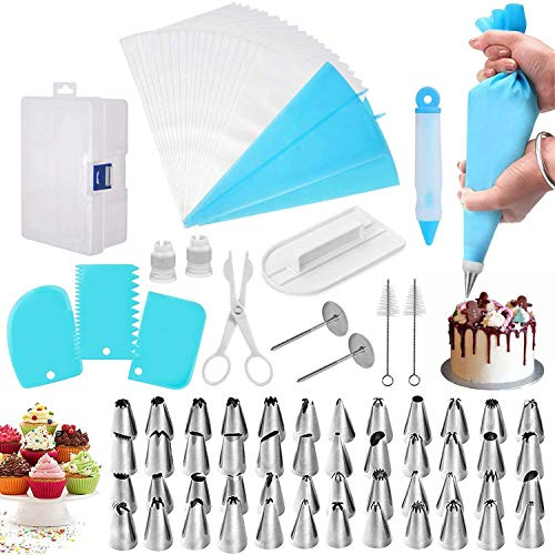 82 Pcs Cake Decorating Supplies Kits Russian Piping Tips, Stainless Steel Baking Frosting Set with Storage Case Ruffle Piping Flower Nozzles Skirt Icing Cupcake Bakes Tools Decorating