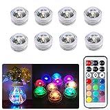 8pcs Luces sumergibles LED Luces subacuáticas impermeables SMD 3528 RGB luces de humor para vaso, cuencos,piscina,acuario y decoración de fiesta IR Control Remoto