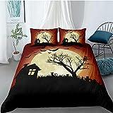 FAIEK Bettbezug und 2 Kissenbezüge einfarbig Bettwäsche-Set,Halloween Bettwäsche-Set für...
