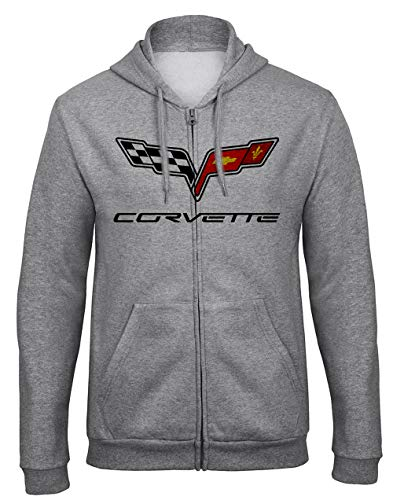 Chevrolet Corvette Logo GM Car Auto Kapuzenpullover Hooded Sweatjacken mit Full Zip Reißverschluss -9080 (XL)