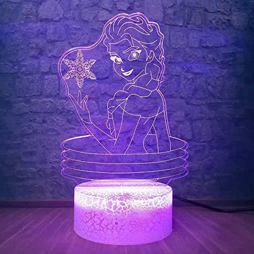 Elsa Girl 3D LED tafellamp RGB Fee Sneeuw 7 kleuren veranderende baby sfeerverlichting nachtlampje decoratie sneeuw Elsa