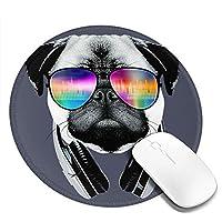 動物 犬 パグ マウスパッド 丸型 20cm 滑り止め 防水 おしゃれ 洗える ビジネス用 家庭用 ゲーム用