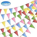 FORMIZON 200 Pezzi Multicolore Bandiere Triangolare, 100 m Banner Bandierine, Bandiere del...