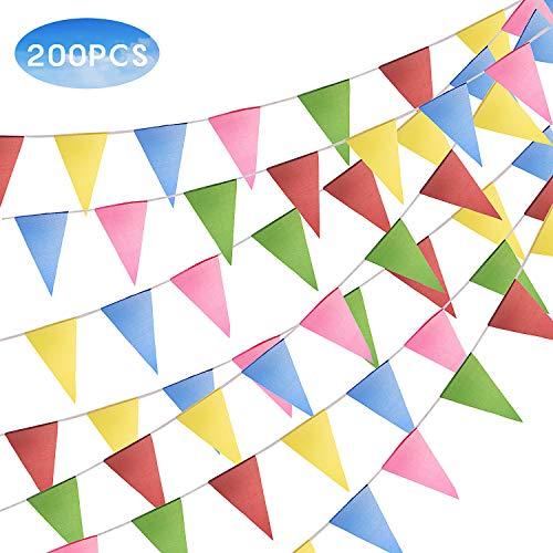 FORMIZON 100M Wimpelkette mit 200 Stück Dreieck Flaggen, Mehrfarbig Nylon Stoff Bunt Wimpel Banner Girlande Drinnen und Draußen Dekoration für Geburtstag, Hochzeit, Party, Outdoor, Indoor