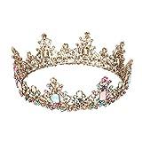 Minkissy - Corona barroca grande, brillantes de colores, corona redonda de cristal, vintage, aleación de bronce, tiara para bodas, cosplay, cumpleaños