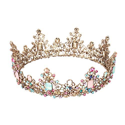 Minkissy große barocke Krone, bunte Strass Kristall Runde Krone Vintage Bronze Legierung Tiara für Hochzeitsfeier Cosplay Geburtstag