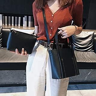 Fashion Single-Shoulder Bags Leisure Fashion PU Leather Shoulder Bag Messenger Bag Handbag (Black) (Color : Black)