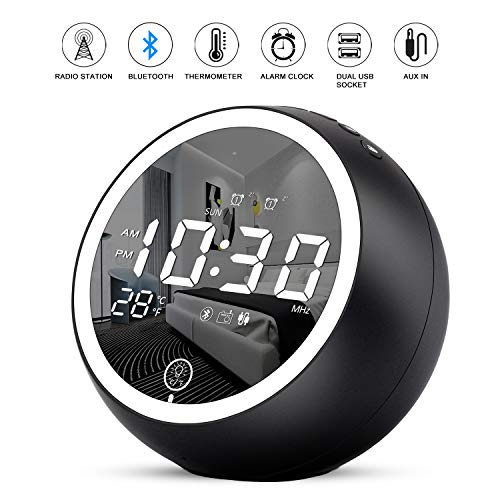 Uplift Alarm Clock Radio,Bluetooth V5.0,Hi-Fi Speaker,Dual Alarms with Snooze,Digital Display with dimmer,Dual USB Output Ports,FM Radio with Sleep Timer,Night Light,Clock for bededrooms