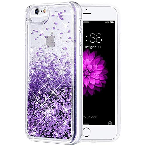iPhone 6 6S 7 8 Case, Caka iPhone 6S Case for Girls Glitter with Tempered Glass Screen Protector Bling Flowing Floating Luxury Glitter Sparkle TPU Liquid Case for iPhone 6 6S 7 8 (4.7 inch) (Purple)