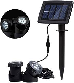 RivenAn 12 LEDs Waterproof Solar Energy Powered Spotlight Projection Light with 2 Submersible Lamps for Outdoor Garden Poo...