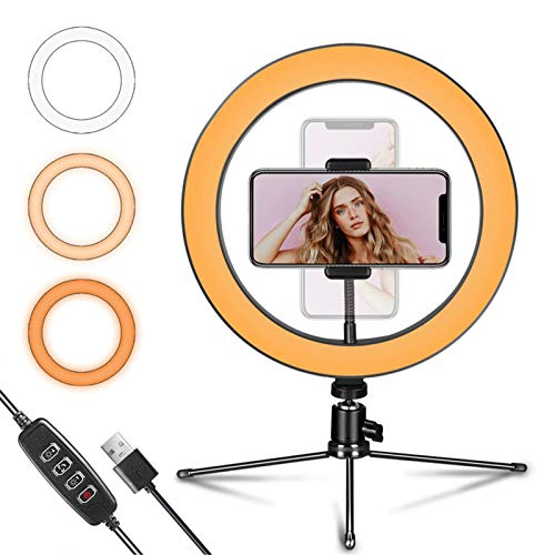 LED Ring Light 10 with Tripod Stand and Flexible Phone Holder for YouTube Video & Streaming, Desk Makeup Ring Light Dimmable for Phone, Selfie with 3 Light Modes & 10 Brightness Level(10)