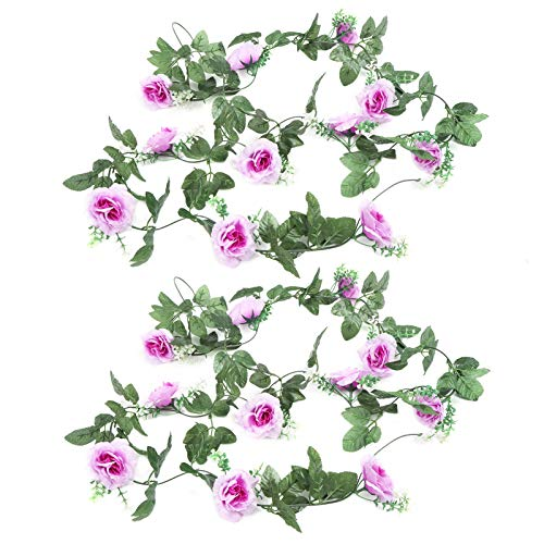 Zhat Flower Vine, Simulation 230cm Long Reusable Purple Decorative Artificial Flowers Rattan 2Pcs for Wedding for Party